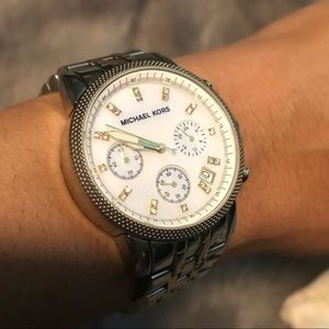 Michael Kors stainless watch.